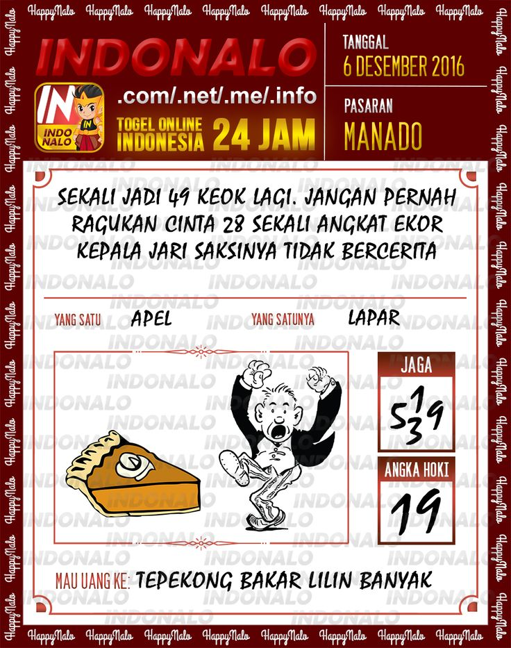 Angka Kumat 2D Togel Wap Online Live Draw 4D Indonalo Manado 6 Desember 2016