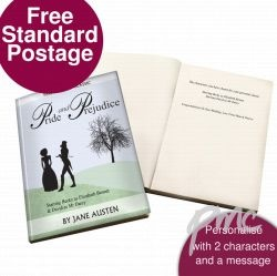 Personalised Pride and Prejudice Novel - 2 Characters A fantastic 'novel' gift for any bookworm you may know, this personalised classic can feature any name as the main characters Elizabeth Bennett and Mr Darcy.   Simply choose who you wish to star in the book and in 5 working days we will despatch your personalised classic novel. You can also add a personal message inside the book up to 50 characters per line to make it extra special.  Please note all personalisation fields must be filled…