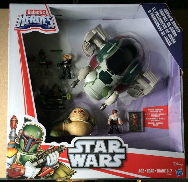 Star Wars Galactic Heroes - Jabba's Bounty Boba Fett Han Solo Skywalker Slave 1 #Hasbro