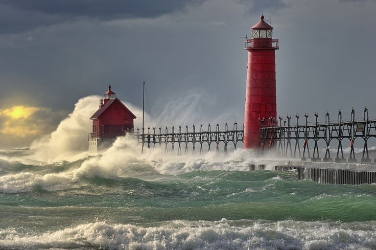 """""""The Storm"""" Grand Haven Lighthouse , Grand Haven Michigan"""