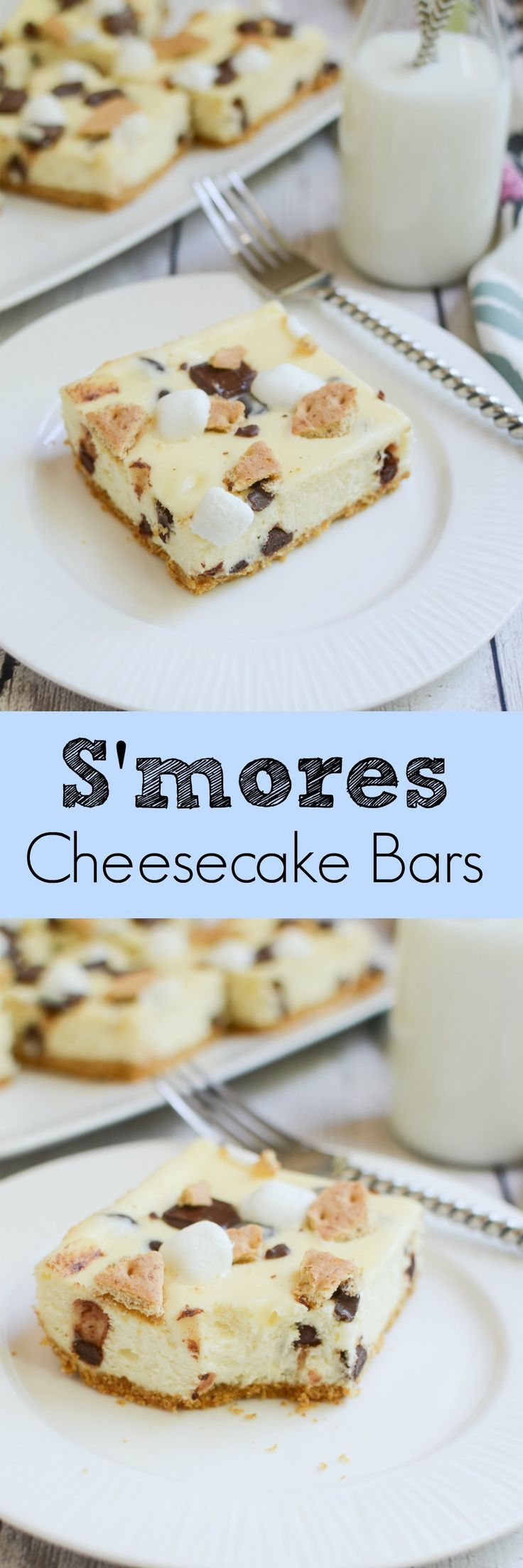 S'mores Cheesecake Bars - delicious chocolate chip cheesecake bars topped with marshmallows, graham crackers, and Hershey's bars!