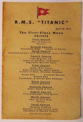 The First Class dinner menu