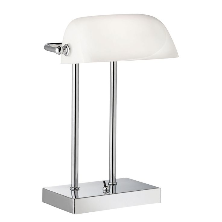 BANKERS STYLE CHROME TABLE LAMP WITH WHITE GLASS SHADE FROM DUSHKA LTD LONDON UK