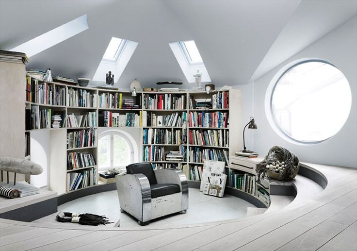 A gorgeous bookcase wall in a round studio loft located in Stockholm featured on Bookshelf Porn.Spaces, Dreams Home, Home Libraries, Le Corbusier, Loft Studios, Interiors, Book, Libraries Design, Reading Room
