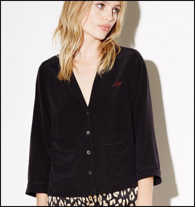 Kate Moss for EQ 100% silk signature embroidery ladies long sleeve pajama blouses Equipment women sleep shirt sprint autumn