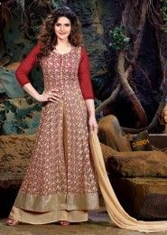 Party Wear Georgette Red Embroidered Work Anarkali Suit