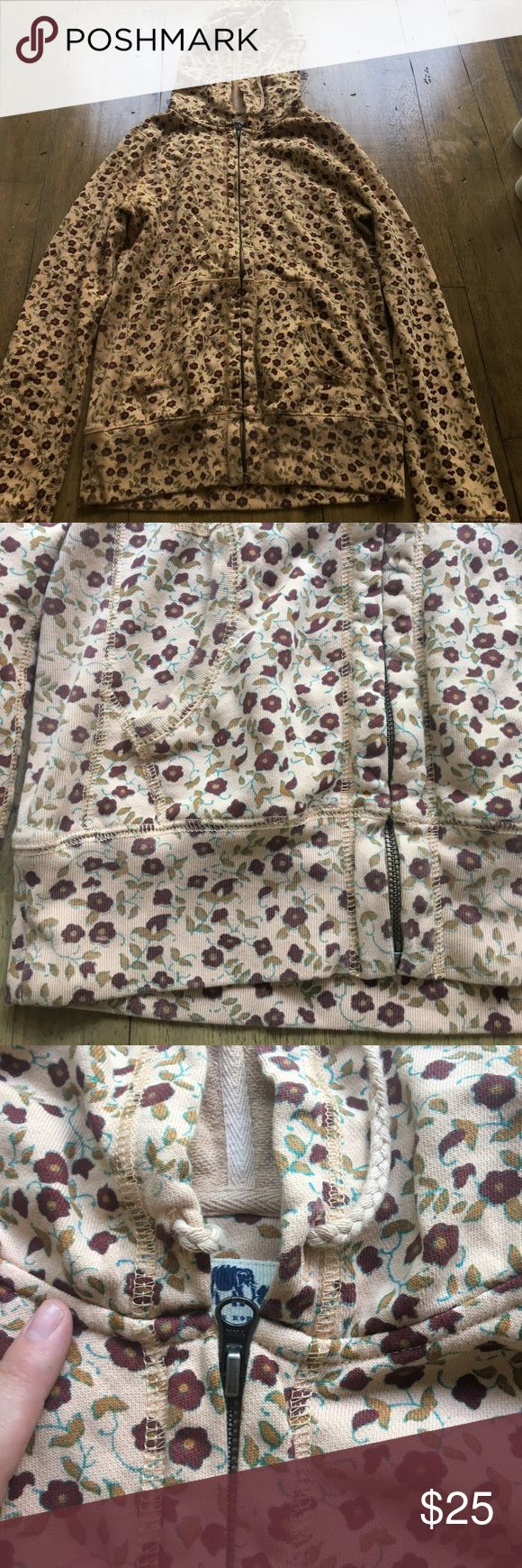 Lucky brand floral zip up hoodie Floral, Great condition,  zip up, hoodie with pockets Lucky Brand Tops Sweatshirts & Hoodies
