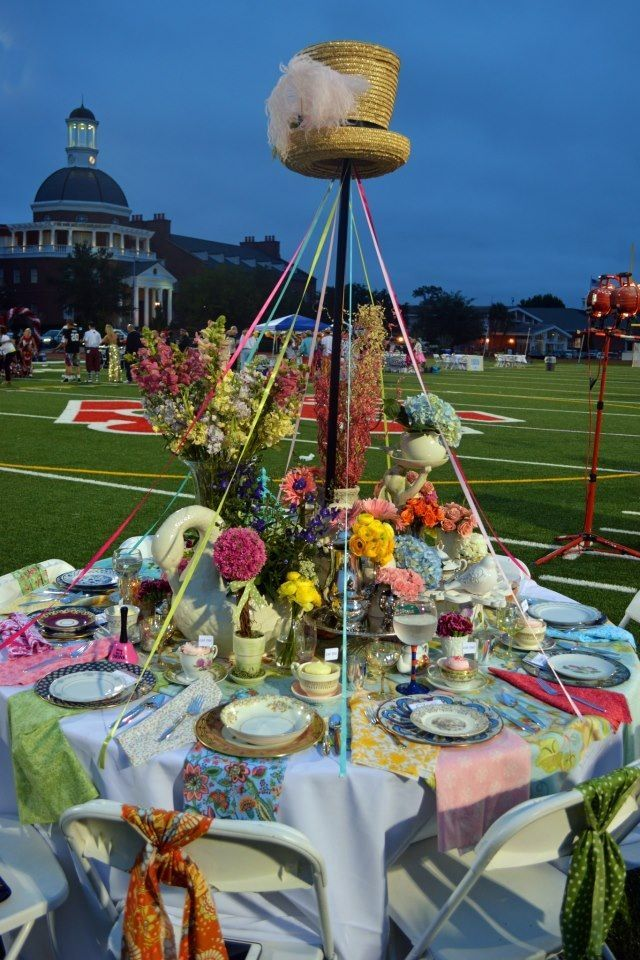 beautiful mad hatter tea party table