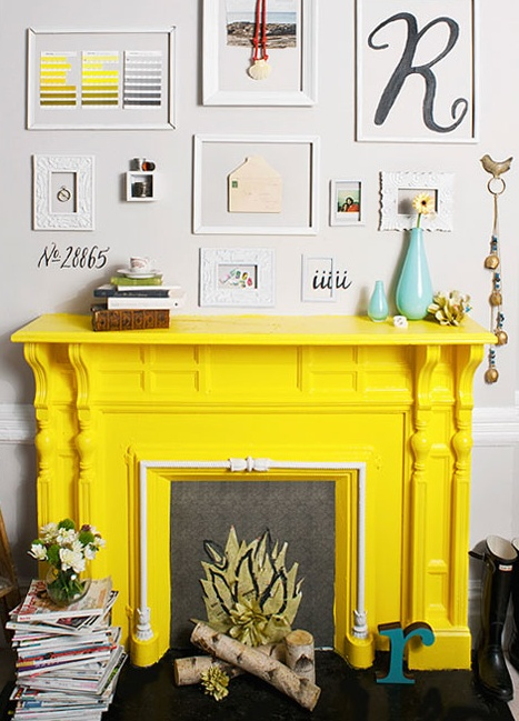 yellow fire place never thought to paint a fireplace this color but it looks awesome