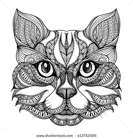 Coloring Animal Faces 629 Best Adult ColouringCatsDogs Zentangles Images