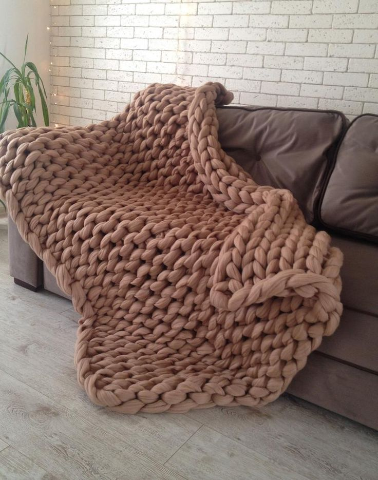 Chunky Knit Blanket Textured Off White Afghan Throw Blanket Hand