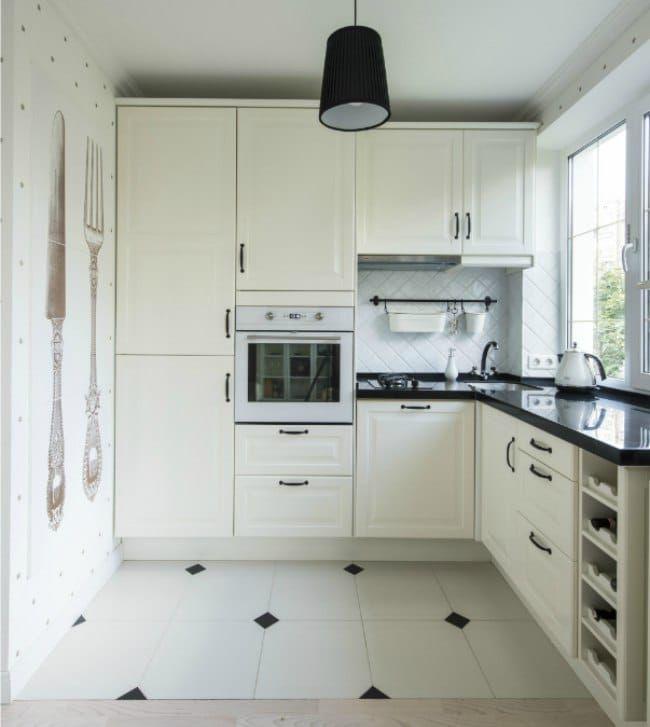 Совмещенная кухня-гостиная в хрущевке - зона кухни