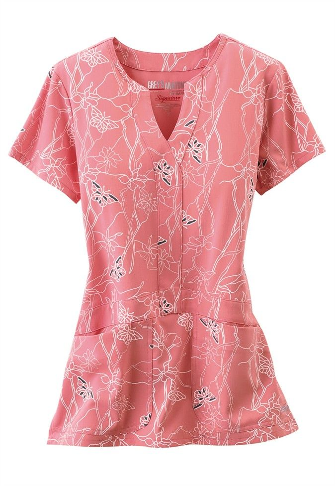Greys Anatomy Signature Soleil 2-pocket y-neck print scrub top. - Scrubs and Beyond