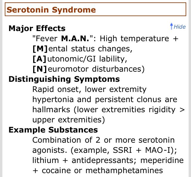 Toxidrome - Serotonin Syndrome