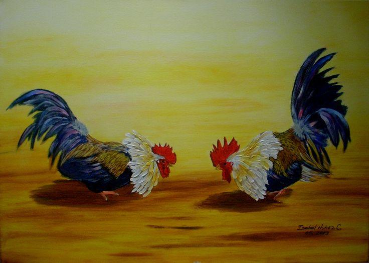 Isabel Nuñez Pelea de Gallos ORIGINAL Acrílico de 70 x 50 cms