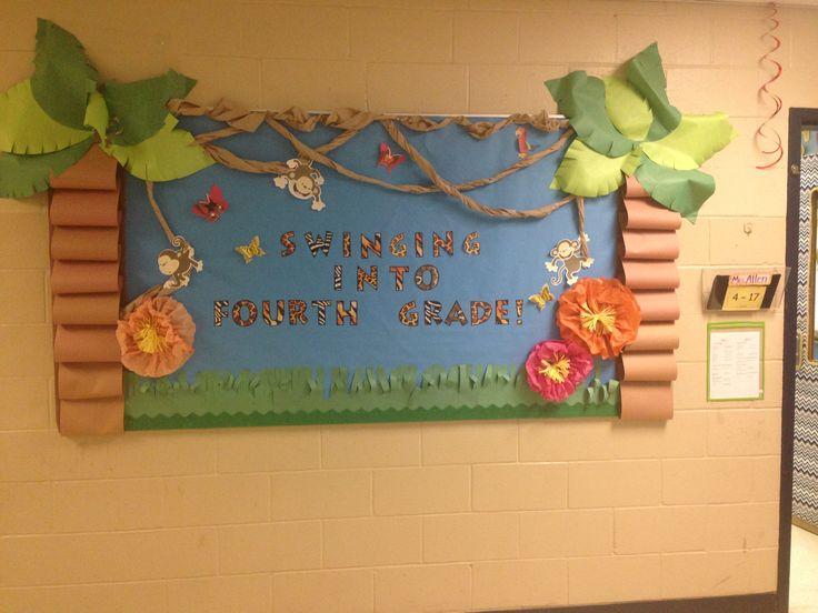 Jungle safari theme back to school bulletin board