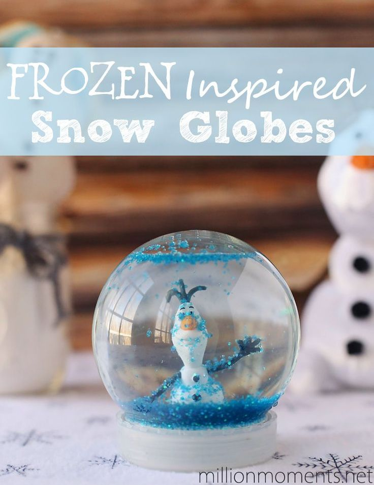 DIY Snow Globes with Disney's FROZEN #FrozenFun #shop.  Would love to do a whole scene from the movie frozen, if I could find a large enough glass container to use.