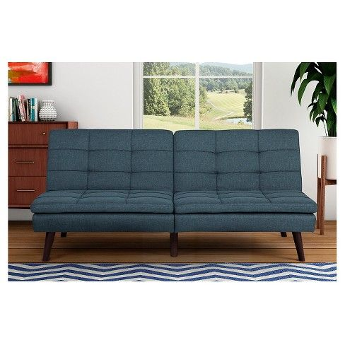 The Room & Joy Windsor Linen Pillowtop futon captures the style and practicality of the mid-century look - perfect for any of today's homes. This piece is a mix of the traditional futon design and a layer of ultra-soft pillow top for comfort that's incomparable. The slim wooden legs add to the 1950's feel and complete the stunning look. The split-back design can be independently reclined from sitting to lounging or lying position with just 2 clicks-so you can entertain guests ...