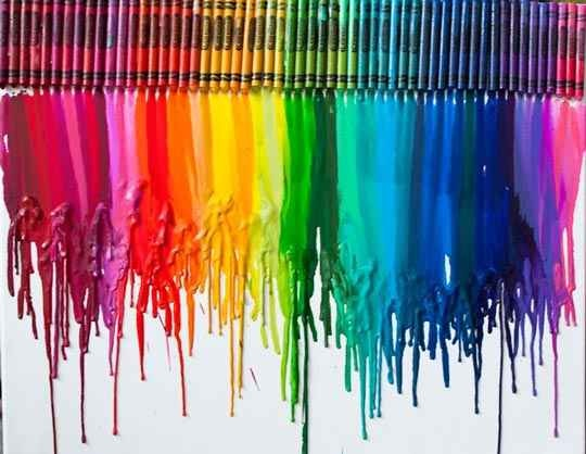Blow dry crayons on canvas, etc..cute, fun and easy way to make art!!