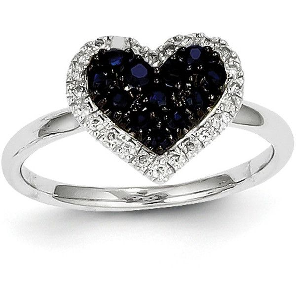 14K White Gold Diamond & Round Sapphire Heart Gemstone Ring ($279) ❤ liked on Polyvore featuring jewelry, rings, accessories, white gold, heart ring, white gold heart ring, heart diamond ring, 14k diamond ring and heart shaped diamond ring