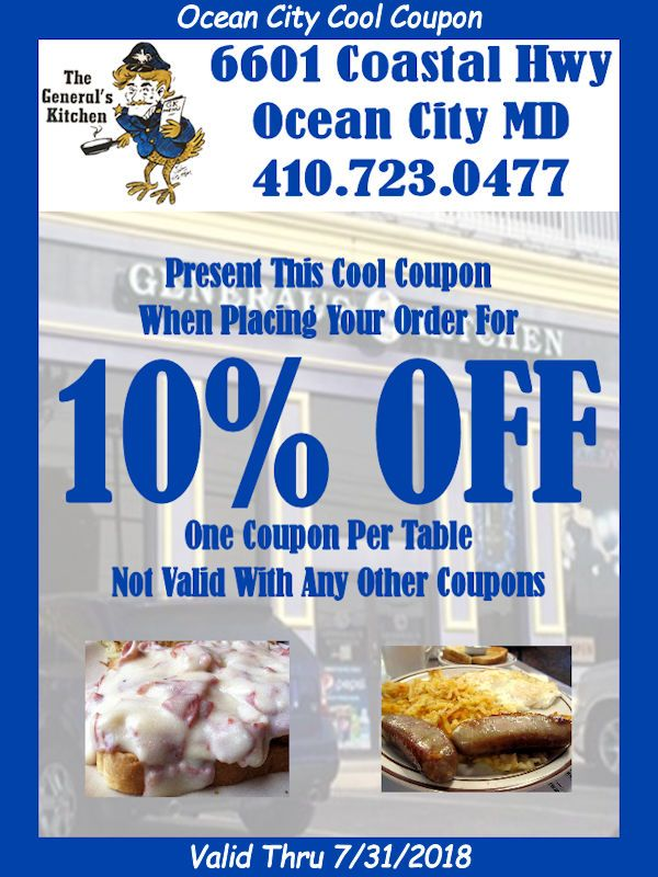 Save 10% OFF your next dining experience at General's Kitchen in Ocean City MD with your #CoolCoupon ... #oceancitycool