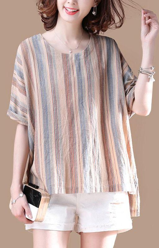 Brief Cotton Blouses Plus Size Clothing Irregular Stripe Short