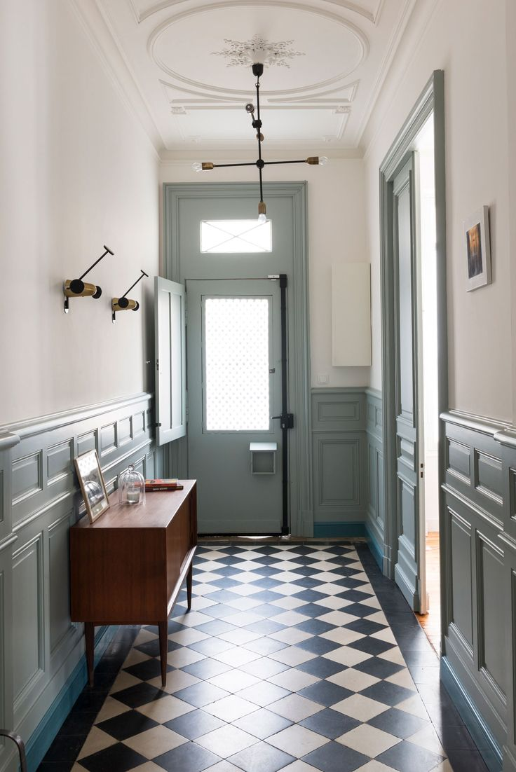 Cool entryway - high ceilings, patterned floor, mid century vibe.                                                                                                                                                                                 More