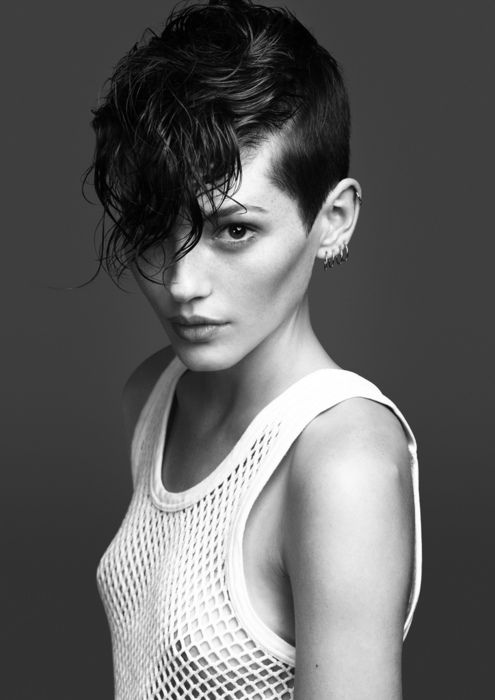 Cute short cut to give edge to a pixie, good on curly hair
