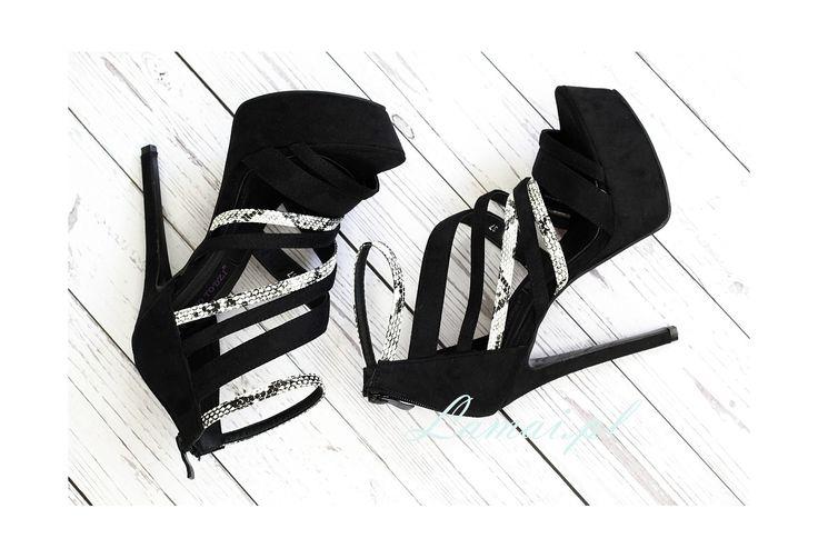 Czarne sandały PLATFORMY szpilki black & white SNAKE S-9 - Sklep Lamai.pl