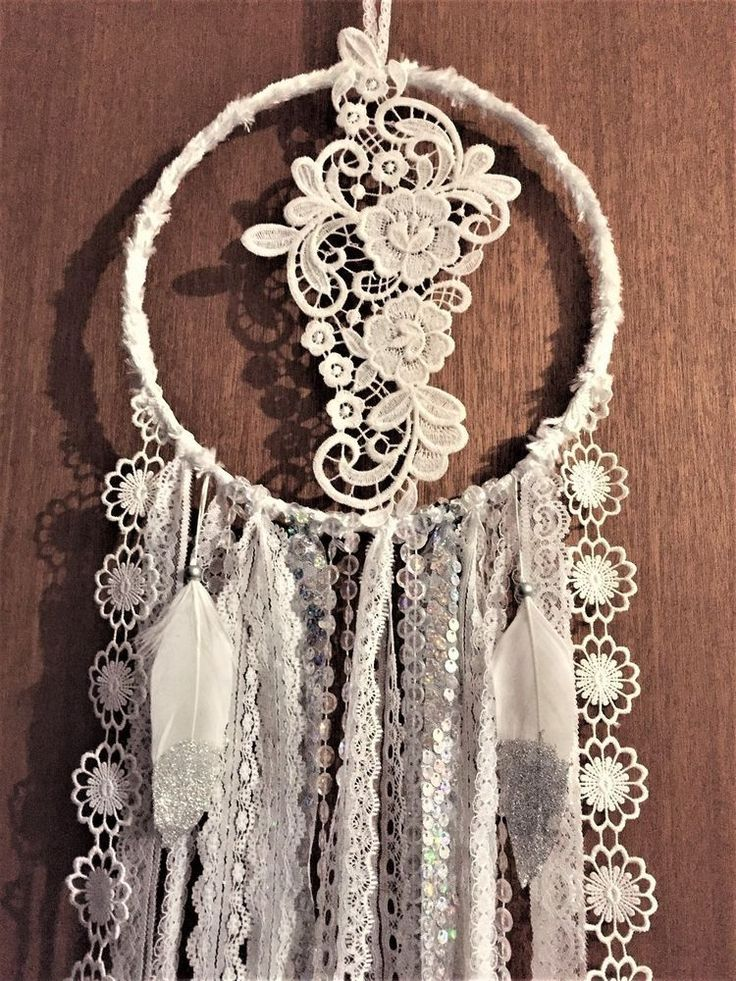 HANDMADE TRUE ROMANCE PRETTY WHITE DREAM CATCHER HOME DECOR WALL HANGING