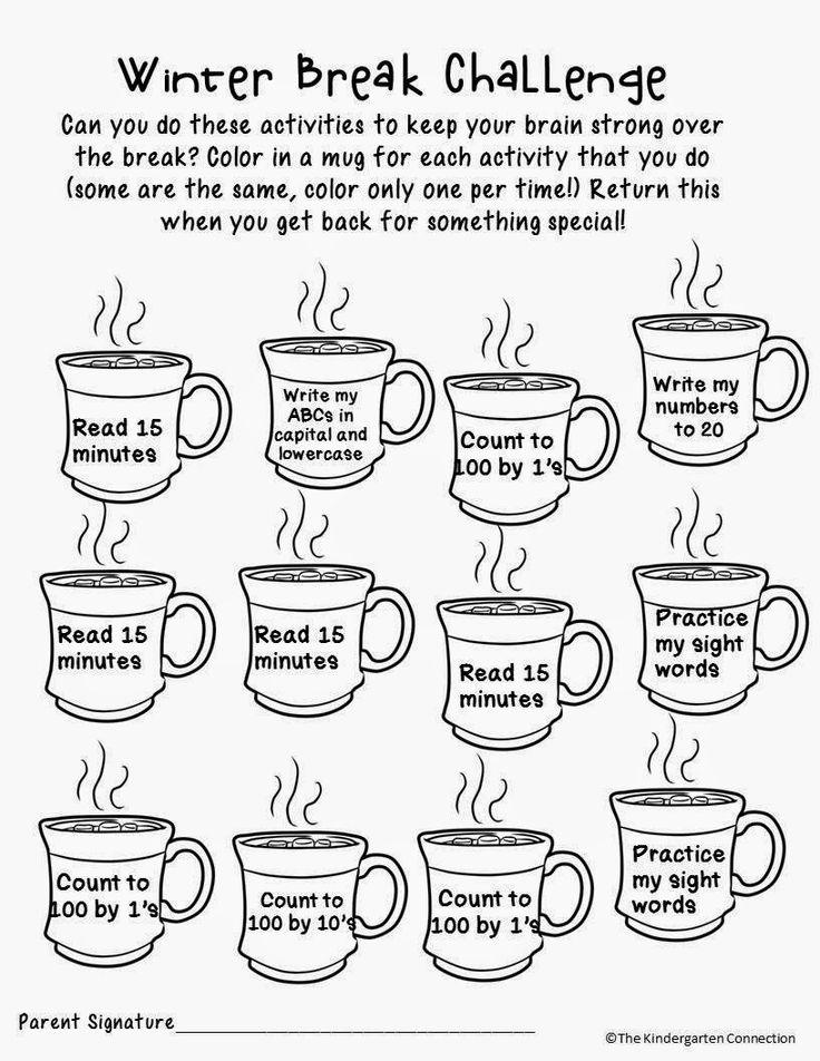 The Kindergarten Connection -Winter Break Challenge (Homework for the break) FREE