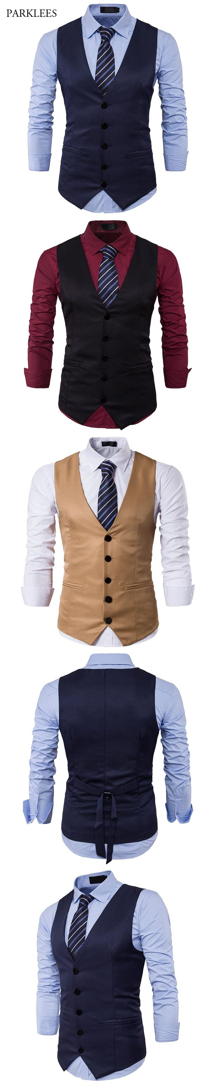 2017 New Brand Mens Suit Vest Slim Fit Mens Waistcoat Single Breasted Gilet Homme Casual Sleeveless Formal Business Vest Men 2XL