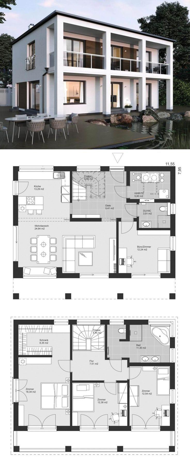 Moderne Bauhaus Stadtvilla Grundriss mit Flachdach Baustil & fassförmig im Bauh…