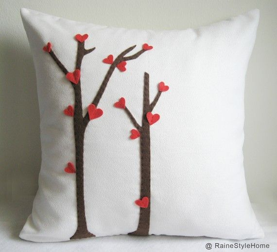 SALE. Love Trees Blossom White Pillow Cover. Decorative Valentine Cushion. For Your Special One