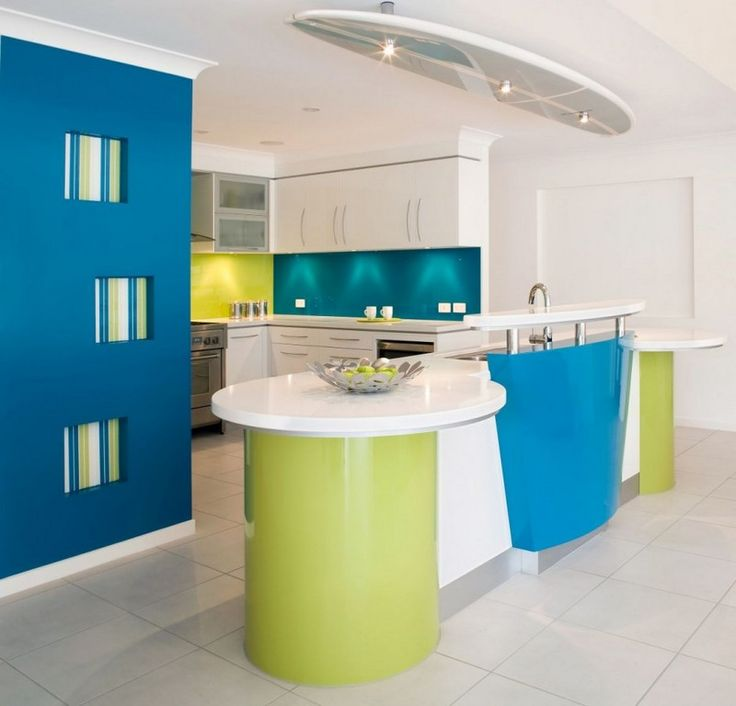 colorful beach house kitchen with surfboard design ceiling lamps