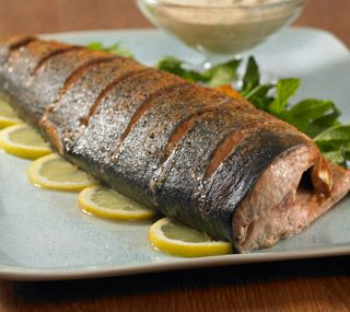 Thrifty Foods - Recipe - Roasted Whole Pink Salmon with Ginger Mint Sauce