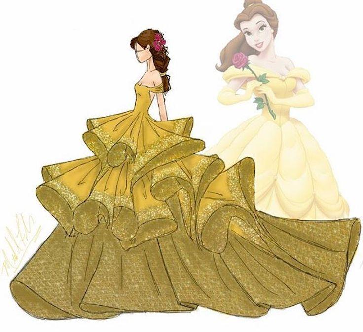 michael anthony couture disney princesses fashion illustrations
