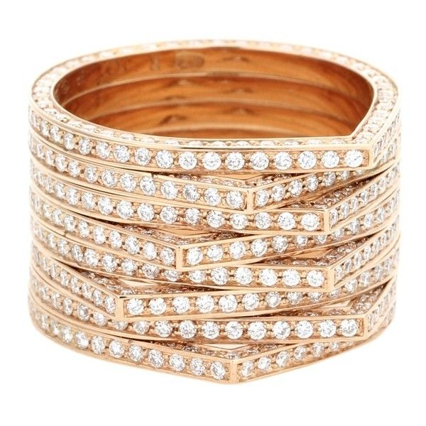 Repossi Antifer 18kt Rose Gold Ring With White Diamonds ($22,590) ❤ liked on Polyvore featuring jewelry, rings, gold, rose gold jewellery, repossi ring, repossi, white diamond ring and red gold jewelry