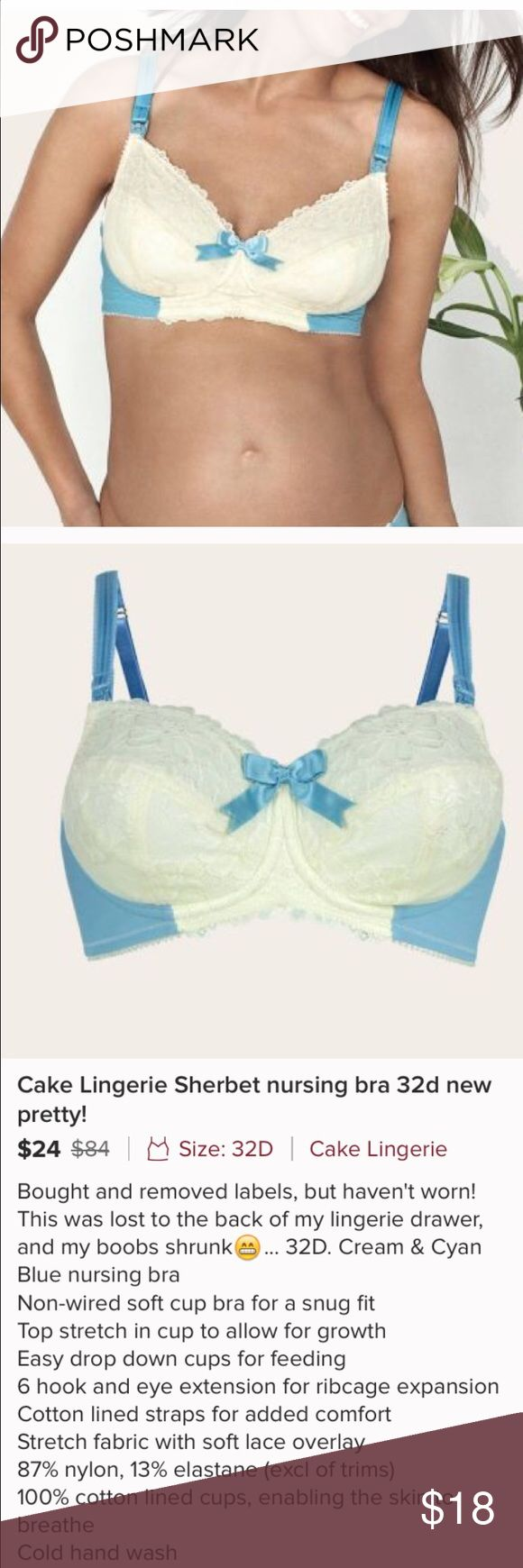 Cake lingerie sherbet nursing bra Cake lingerie sherbet nursing bra 32d bought from another posher. I tried to wear it is so pretty but it was too small. Worn couple times washed line dried. EUC Cake Intimates & Sleepwear Bras