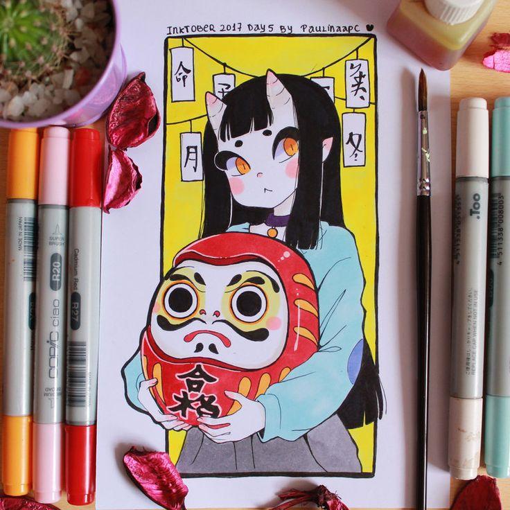Inktober 2017 day 5 Daruma and Eunbooh by Paulinaapc.deviantart.com on @DeviantArt