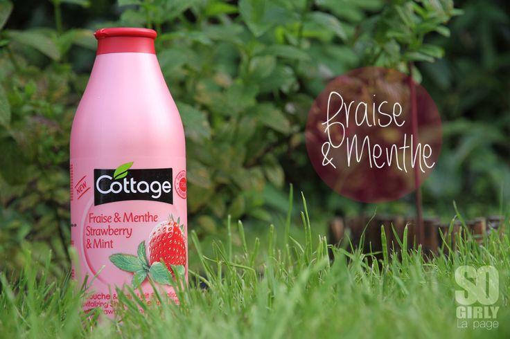 Le cottage à la fraise et à la menthe... On a envie de le manger !! Le test sur le blog : http://sogirlyleblog.wordpress.com/2014/09/08/les-gels-douches-cottage/