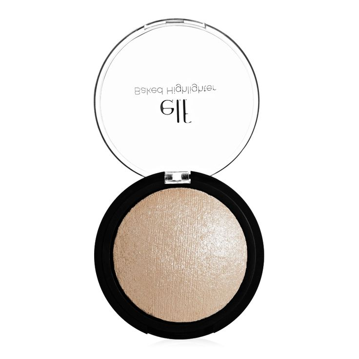 e.l.f. Studio Baked Highlighter Create a radiant glow with this illuminating powder that highlights the skin with a sheer wash of shimmering color. Infused with Vitamin E, Jojoba, Sunflower, Apricot and Grape to nourish and hydrate the skin.