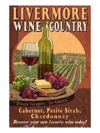 Livermore, California Wine Country Lantern Press Art Print