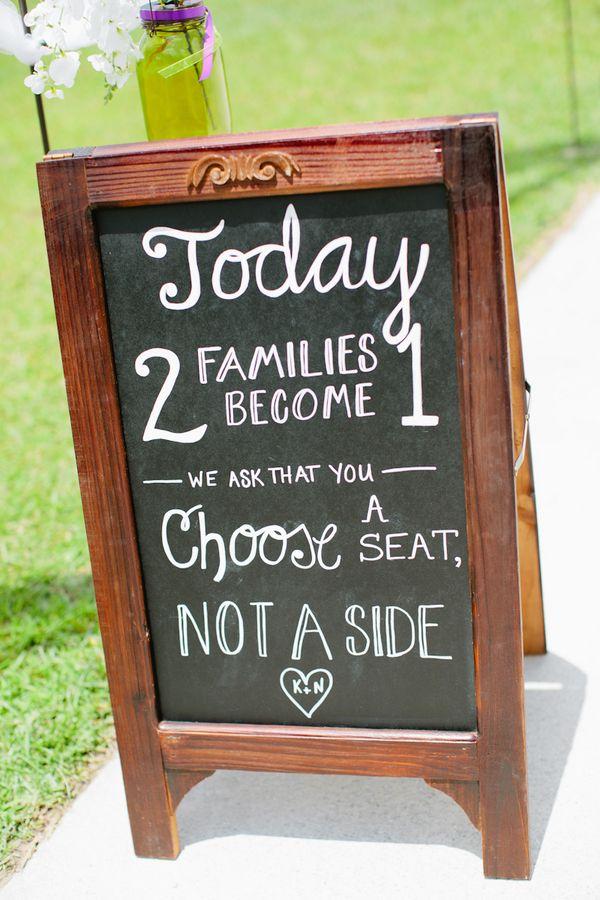 Sweet chalkboard wedding ceremony sign (Photo by Keepsake Memories Photography)