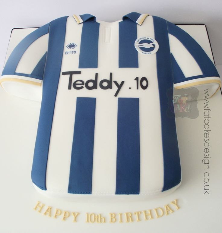 Brighton and Hove Albion football shirt cake.