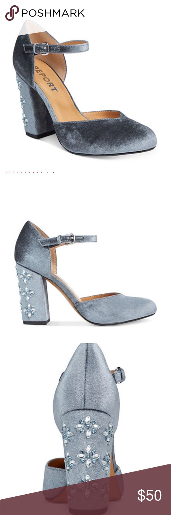Report Ladee 2 pics embellished block -hell Pumps Brand new with box Report Ladee 2 pics embellished block -hell Pumps light blue velvet color size 9 with 3 3/4 heel & adjustable buckle closure at ankle strap. Report Ladee Shoes Heels
