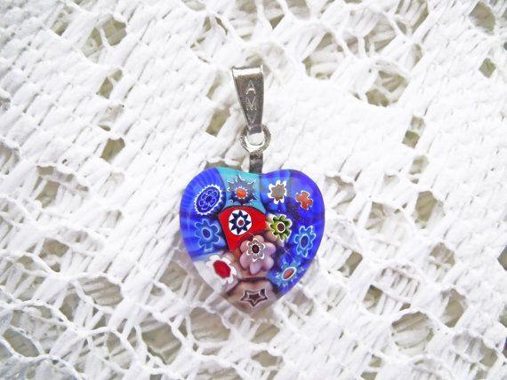Ciondolo cuore in argento e murrina autentica di Murano