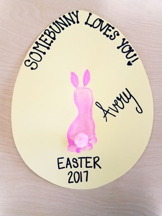 DIY Craft: Some Bunny Loves You. Do on gray background and add grass. Bunny can be white also