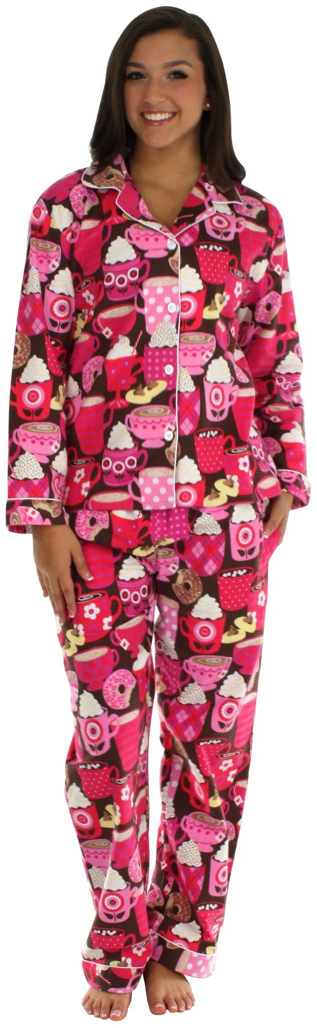 Frankie & Johnny Women's Flannel Pajamas with Matching Footie