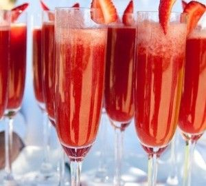 Strawberry Mimosas – 1/3 strawberry puree and 2/3 champagne…much better than orange juice!